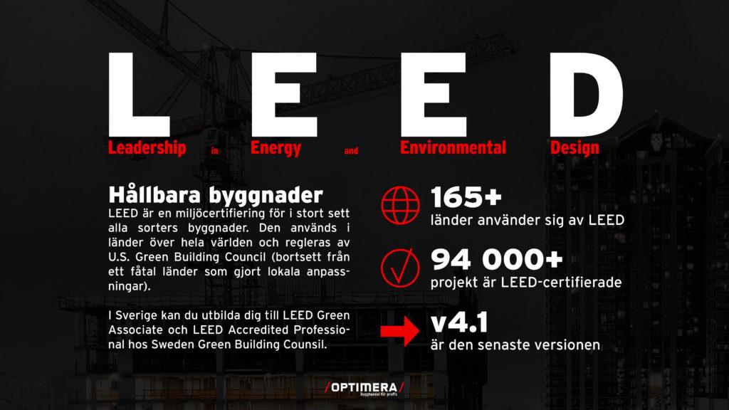 Miljöcertifieringen LEED står för Leadership in Energy and Environmental Design