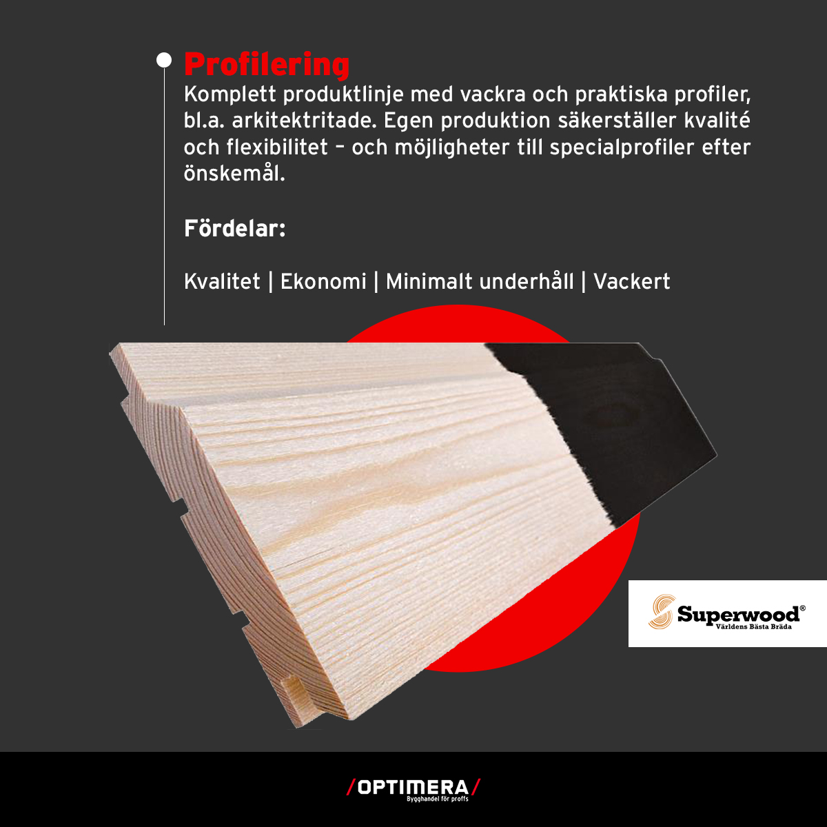 superwood - profilering - säljs på optimera