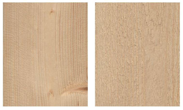 Dimensionshyvlad yta respektive finsågad yta. Bild: Svenskt Trä